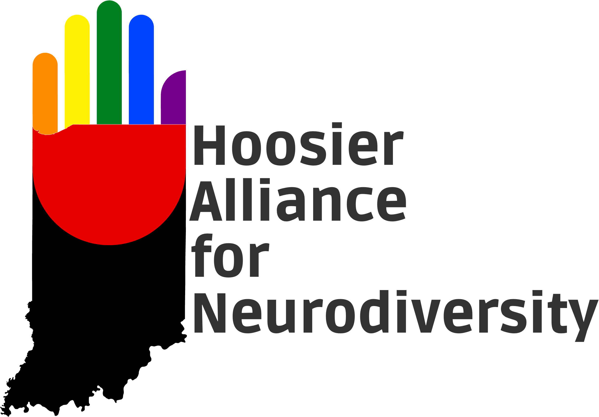 Hoosier Alliance for Neurodiversity Logo (A hand shaped like the state of Indiana)
